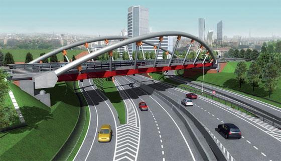 "Ponte metallico ad arco ""De Gasperi"" a Milano"